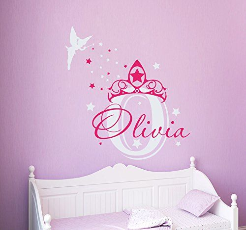 Amazon com wall decal custom name for children fairy stars clouds princess vinyl stickers