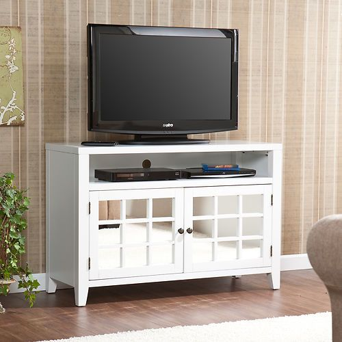 Carter White Mirrored Mirror Tv, Tv Stands With Cabinet Doors