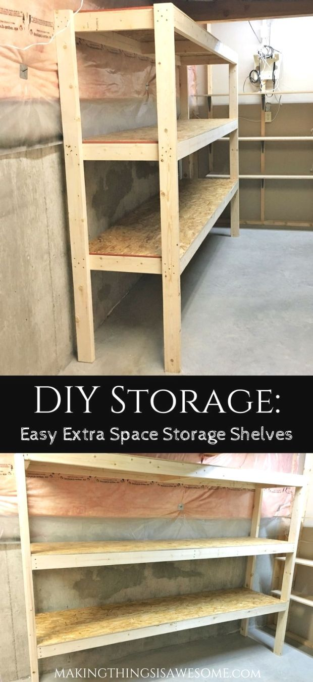 Easy to follow directions to build your own DIY Storage Shelves all by yourself