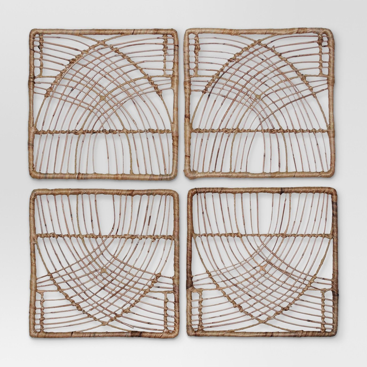 Rattan Wicker Wall Art Set 14 X14