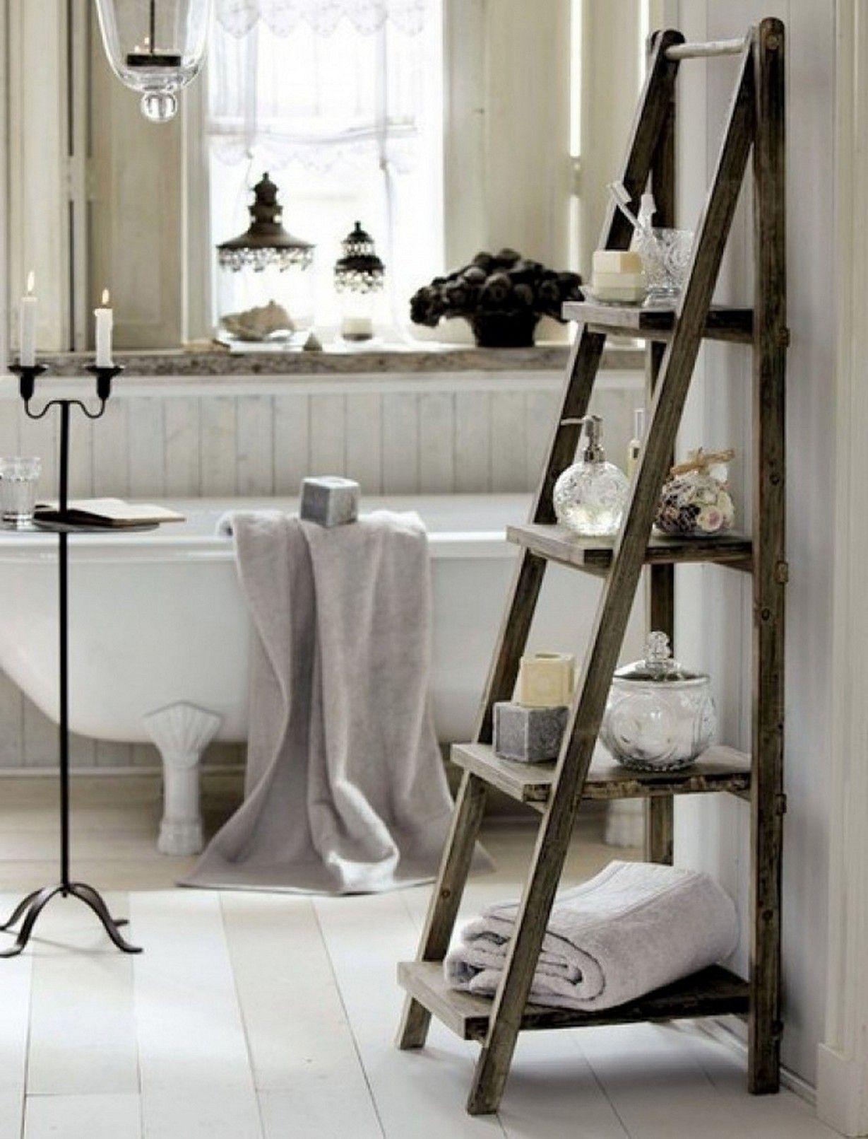 Where To Put Towel Bar In Small Bathroom Google Search Ladder Towel Racks Bathroom Ladder Diy Bathroom Decor