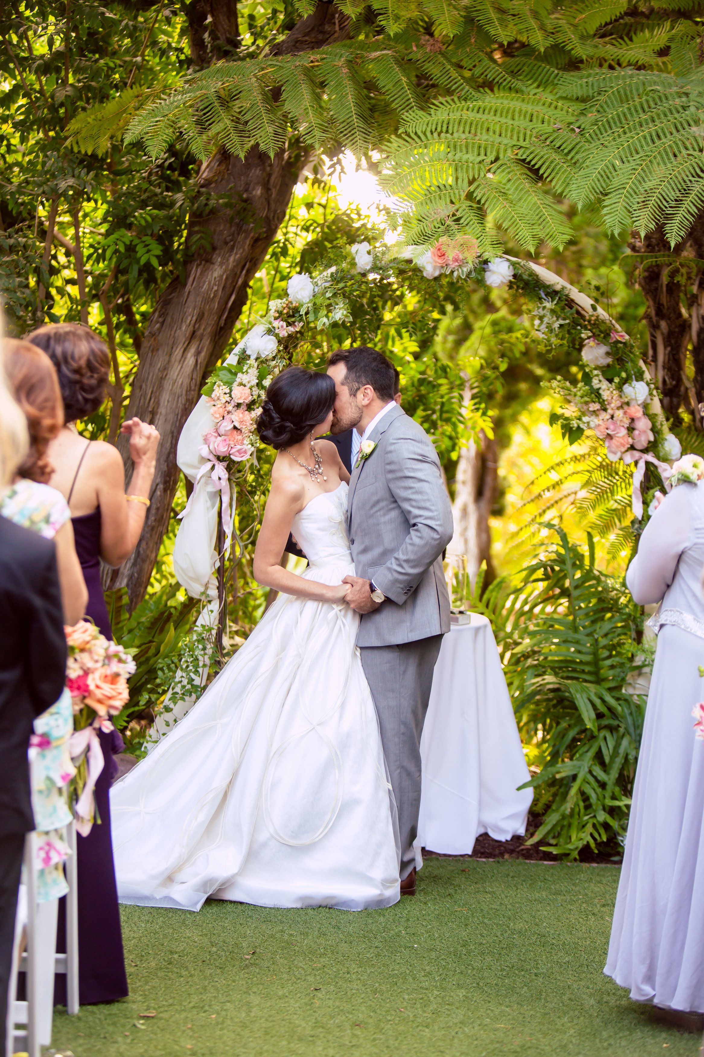 The #overthemoon #inlove #couple #kisses as #husbandandwife! ::Shwan + Dina's stunning botanic garden wedding in San Diego, California:: @san pan Diego Botanic Garden #SanDiegoWeddings #GorgeousVenue #WeddingVenues #outdoorwedding #ceremony #marriagekiss #weddingphotography