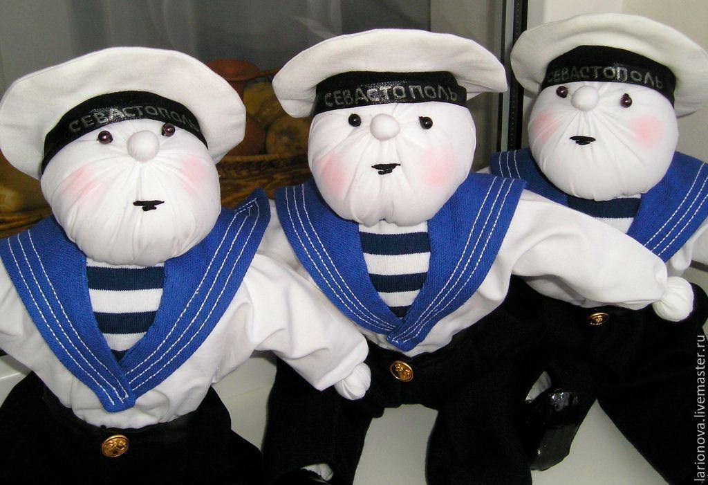 Купить Севастопольские морячки - лоскутная кукла, белый, сувенир, моряк, матрос, бескозырка, севастополь