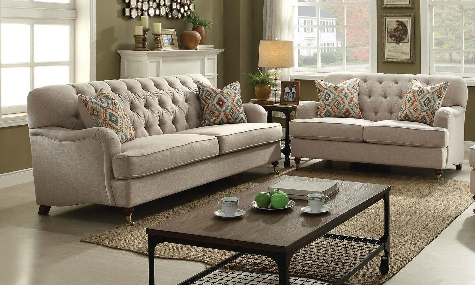 Best Sofa And Loveseat Set Alianza Beige Fabric 2Pc Button 400 x 300