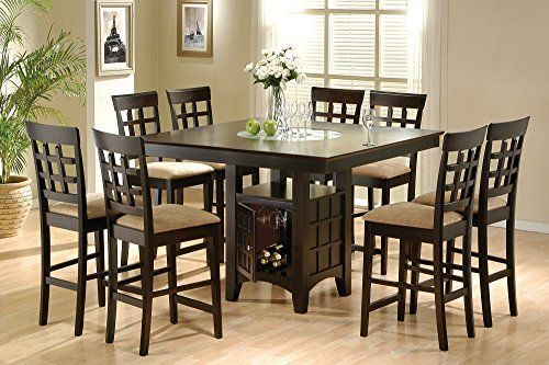 Coaster Home Furnishings 9 Piece Counter Height Storage Dining Table W Lazy Susan Dining Table With Storage Counter Height Dining Table Kitchen Table Settings