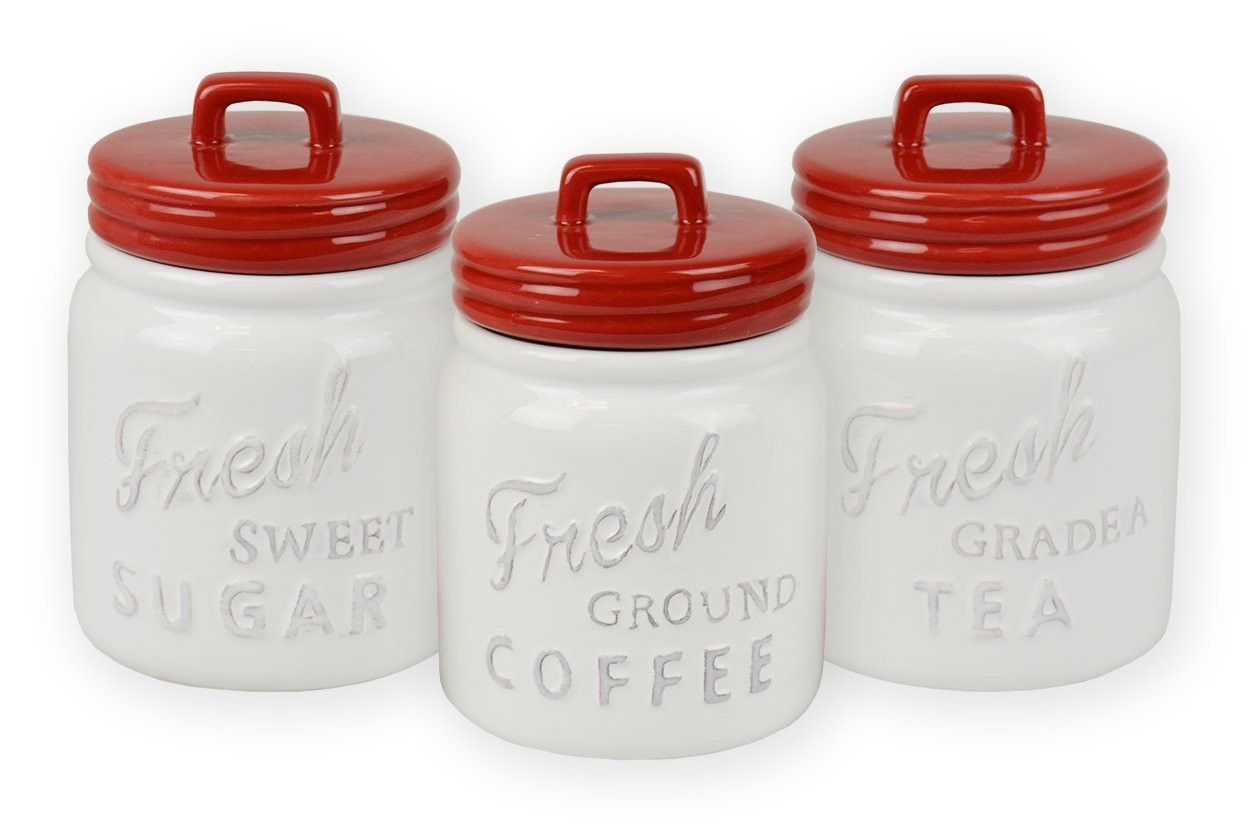Farmhouse Kitchen Ceramic Canisters Mason Jar Style Jars 3 Piece Red ...