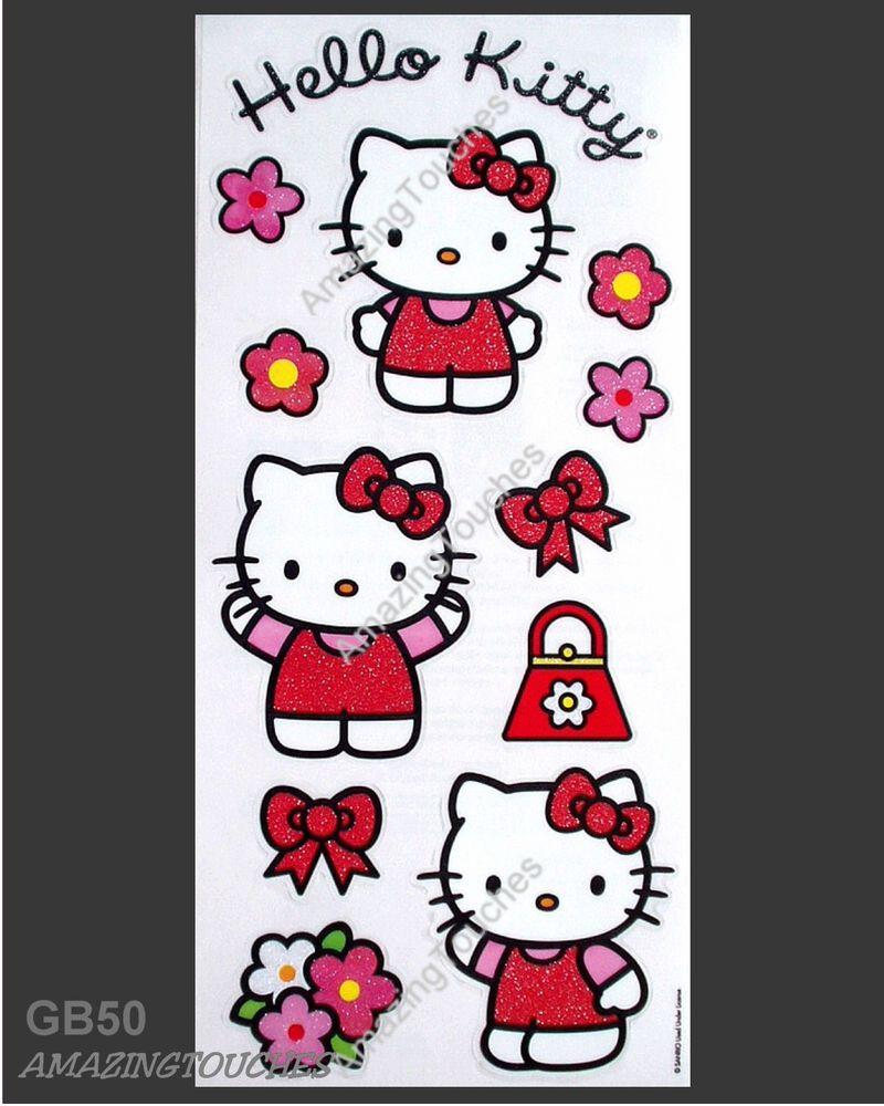 """Sandylion Scrapbook SANRIO HELLO KITTY CLEAR GLITTER  Sticker 5""""X12"""" GB-50-L"""