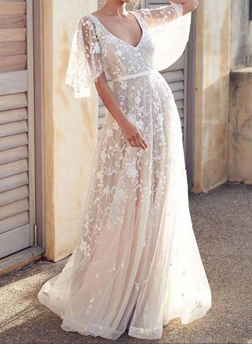 Boho V Neck Cap Sleeve Lace Beach Dress Lace Beach Wedding Dress