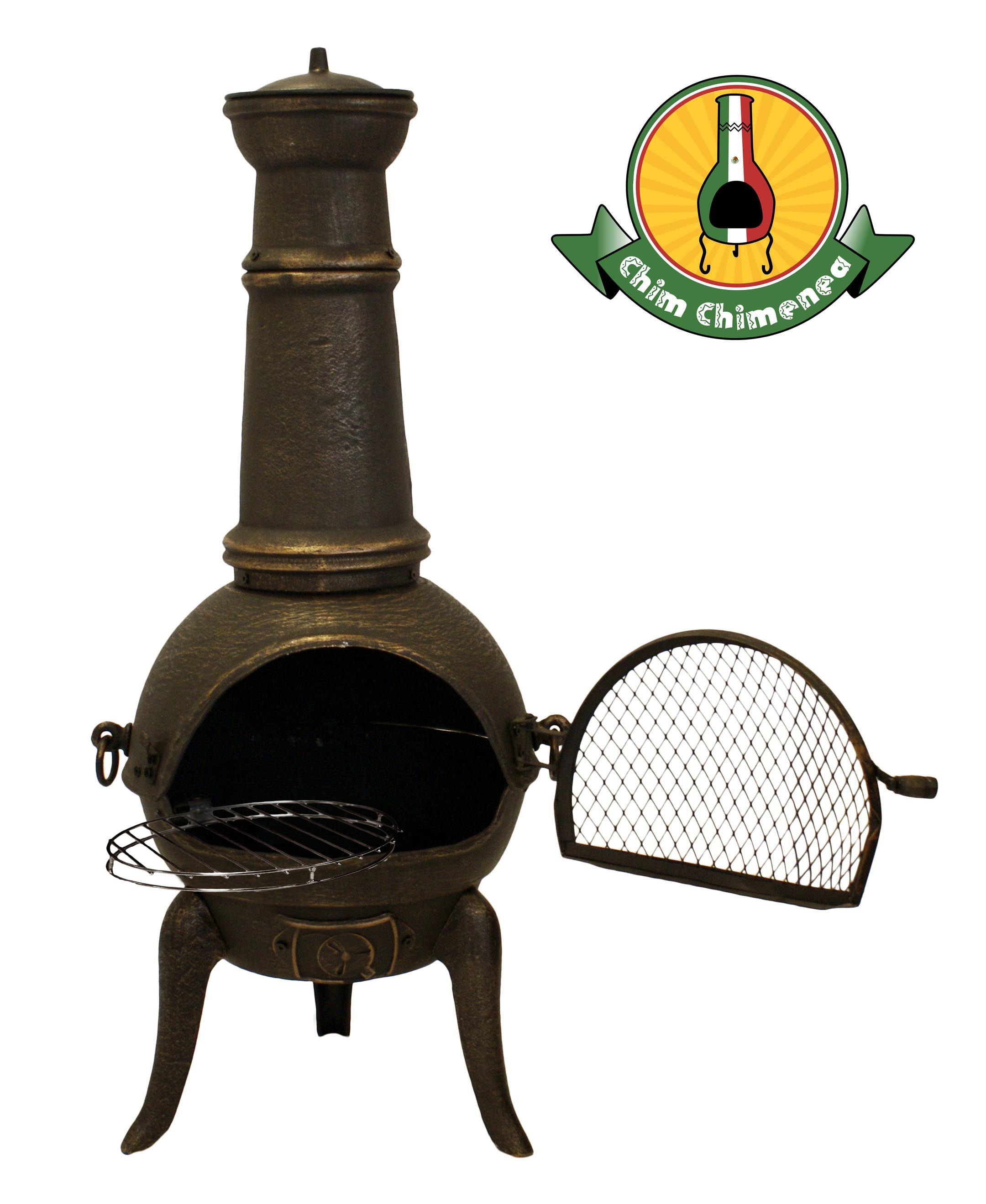 santa lucia cast iron medium chimenea bronze h110cm x w50cm