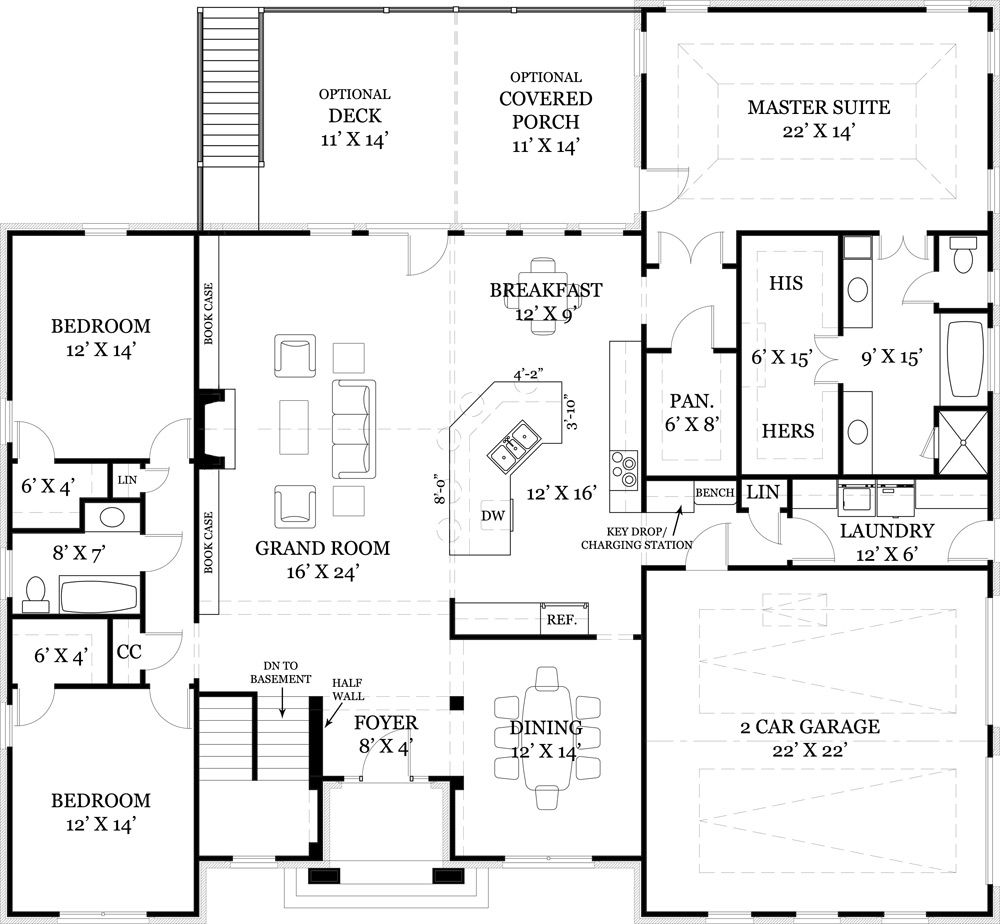 One story house plan with split bedrooms ranch floor for House plans with 2 story library