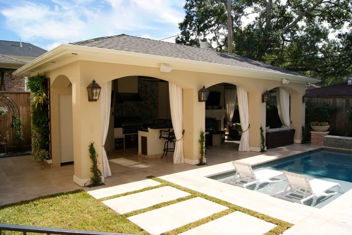 Stucco patio outdoor room freestanding loaded pool for Stucco patio cover designs