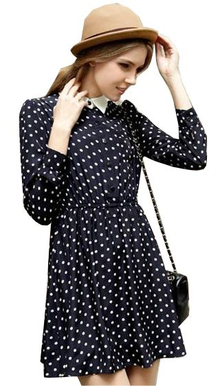 Black Long Sleeve Polka Dot Belt Dress US$24.75 Sheinside