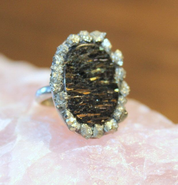 crushed flow moonstone and pyrite gold sterling pin ring silver gemstone metaphysical