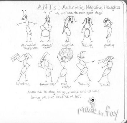 Sketch of what I think ANTS (Automatic Negative Thoughts) may look ...