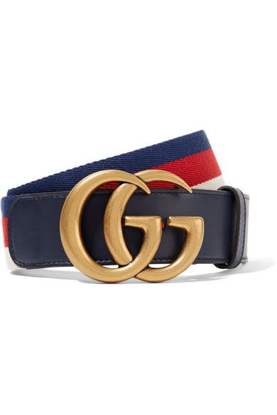 2b35aba8c Gucci | Navy, red and white canvas, midnight-blue leather (Calf) Push stud  fastening Made in Italy