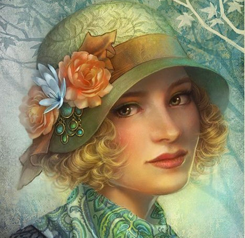 Retro lady paintings vintage art beautiful HD Wallpaper