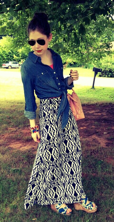 01ec09dbf Black and white patterned maxi skirt, denim tie front shirt, and aviators ♥  plus, pops of coral and blush, and tie dye strap wedges!!