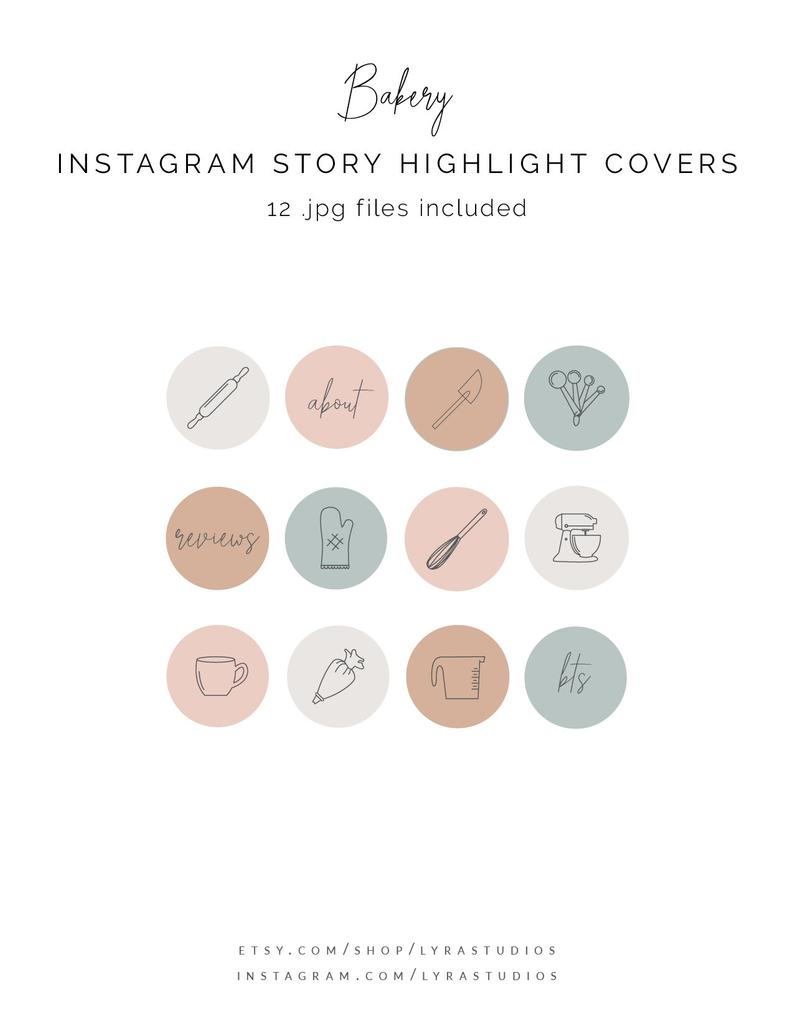 Bakery Instagram Highlight Covers, food icons, line icons