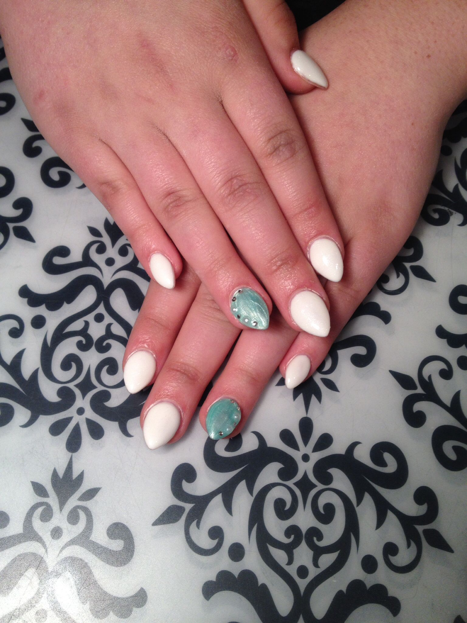 Lcn Gel Nails White And Mint Pearl Gem Bling Almond Nails Gel Nails Nail Envy