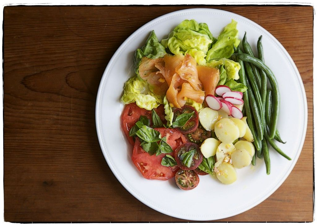 Salmon Nicoise Smoked Salmon Boiled Baby Potatoes Heirloom Tomatoes Green Beans Radishes And But Food Inspiration Corn Beef And Cabbage Corned Beef Brisket