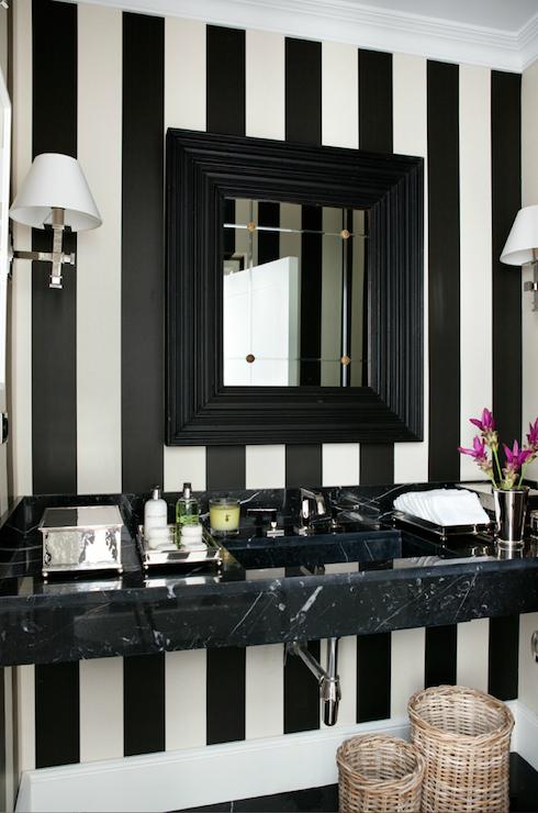 Bathrooms Black White Striped Wallpaper Black Marble Floating