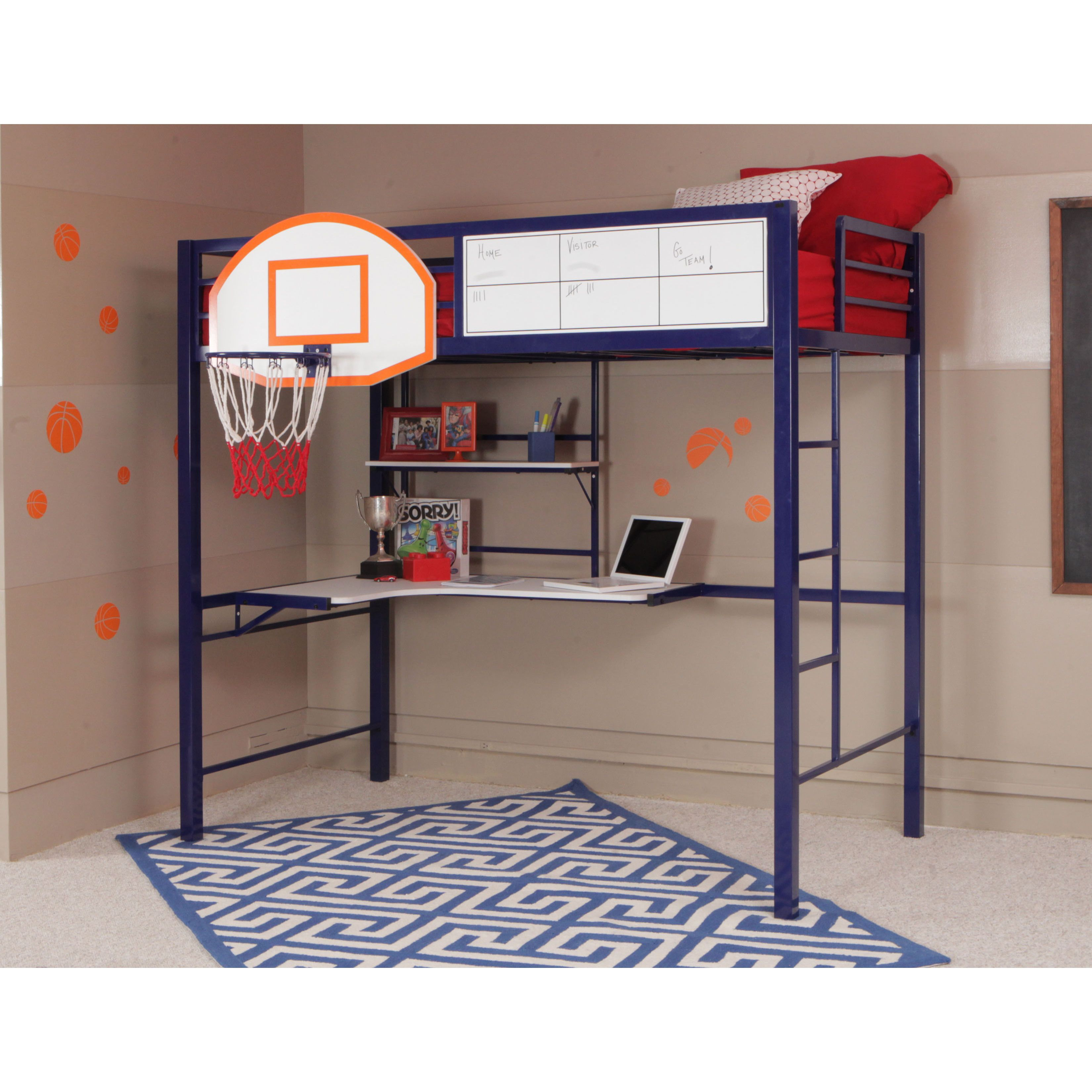 The Powell Hoops Metal Basketball Bed combines fun and function with