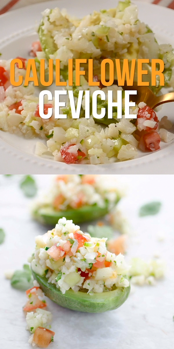 This recipe for cauliflower ceviche is tangy, spicy, and refreshing. It is an easy to make appetizer. Serve with chips and avocado.