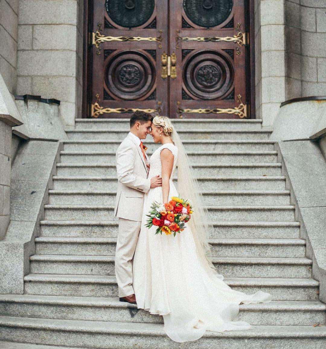Flowy wedding dress with sleeves  modest wedding dress with cap sleeves and a flowy skirt from alta