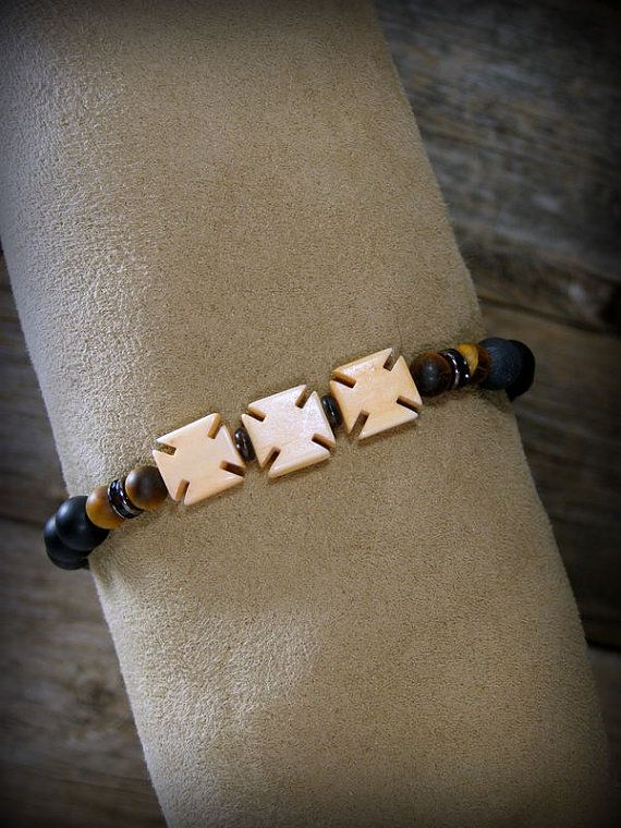Mens Bracelet Biker Cross Bracelet Matte Black por StoneWearDesigns