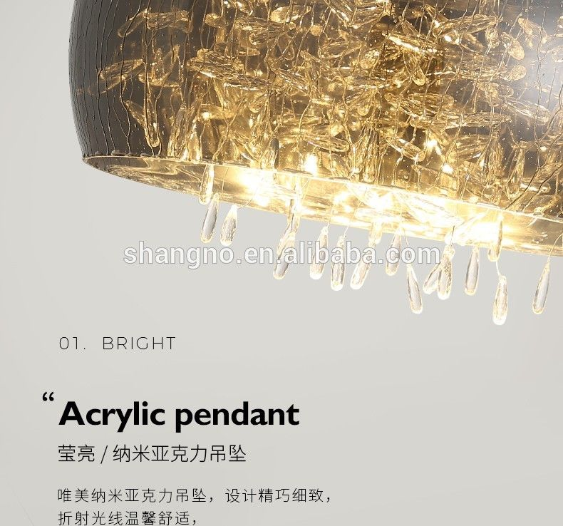 Photo of New Classical glass circular lampshade Crystal Chandelier lighting decorative for living room