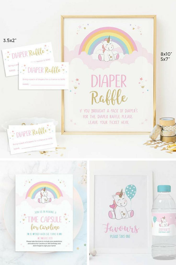 unicorn diaper raffle ticket printable unicorn diaper raffle sign unicorn baby shower game girl printable diaper raffle sign tickets card ad