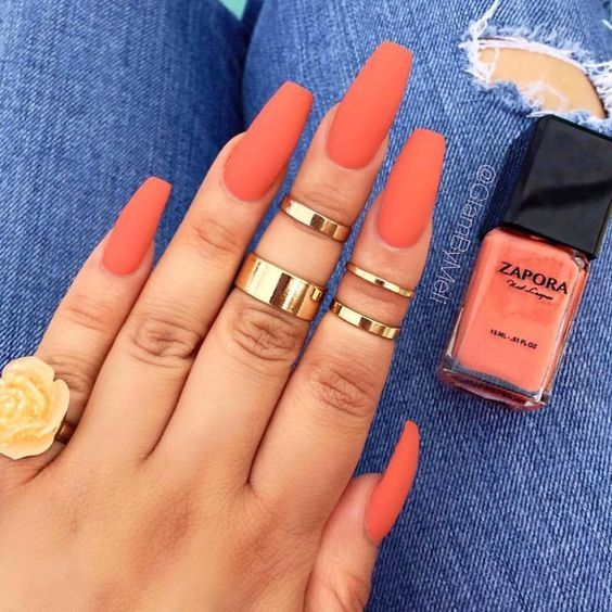 42 Coffin Acrylic Nail Ideas With Different Colors That You Ll Want To Copy With Images Coral Acrylic Nails Orange Nails Summer Acrylic Nails