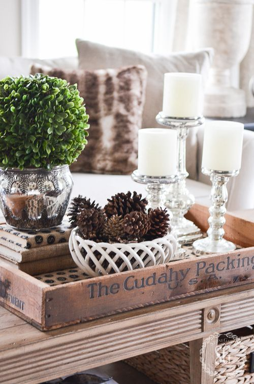 Early Winter Vignette Stonegable Decorating Coffee Tables Tray Decor Winter Home Decor