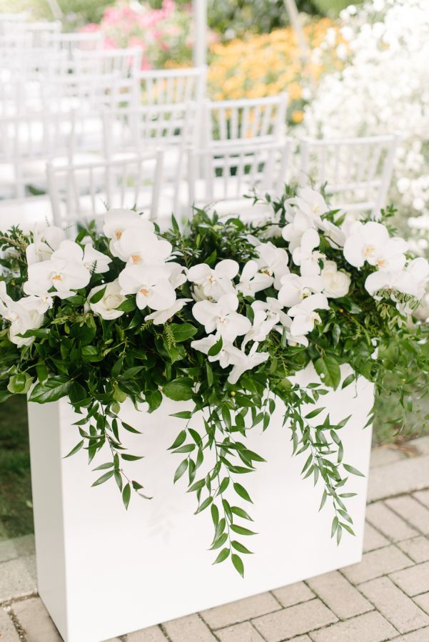 white cascading wedding flowers