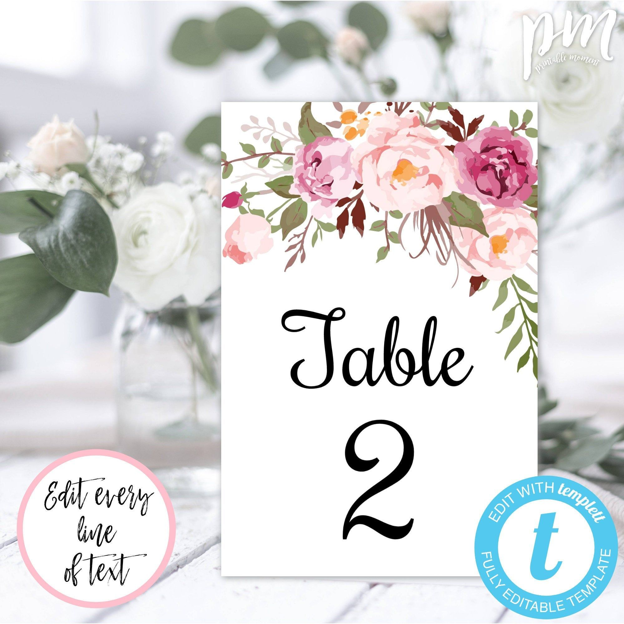 Pink Floral Wedding Table Number Template 4x6 Printable Table Etsy Wedding Table Numbers Template Wedding Table Numbers Printable Table Numbers
