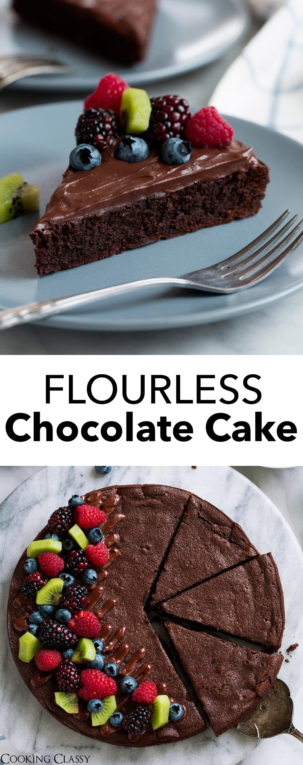 Flourless Chocolate Cake - absolutely no flour, yet you won't miss it in the slightest! This heavenly cake will likely remind you of a rich, decadent brownie yet it's texture is one all it's own. Each bite just melts away in your mouth! Chocolate Cake - absolutely no flour, yet you won't miss it in the slightest! This heavenly cake will likely remind you of a rich, decadent brownie yet it's texture is one all it's own. Each bite just melts away in your mouth!