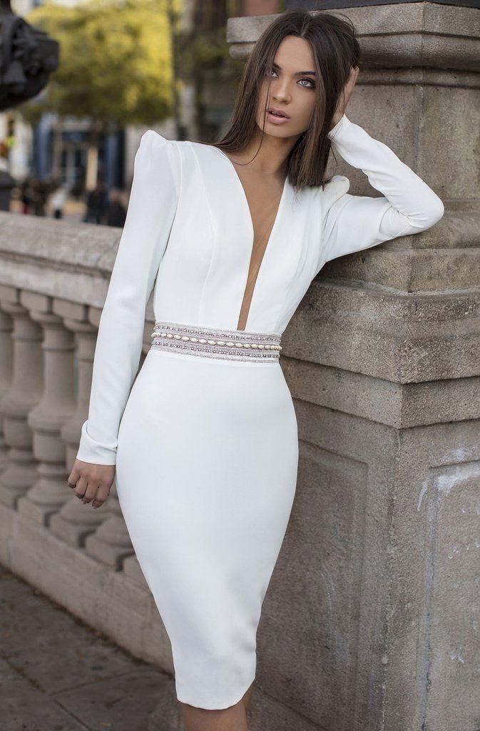 Tarik Ediz 93869 Embellished Deep V Neck Long Sleeve Fitted Dress In 2020 Long Sleeve Fitted Dress Long Sleeve Wedding Dress Lace Tarik Ediz Dresses