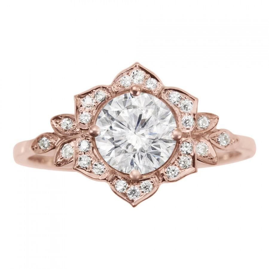 Delicate Lily Ring Art Deco Flower Ring Rose Gold Engagement