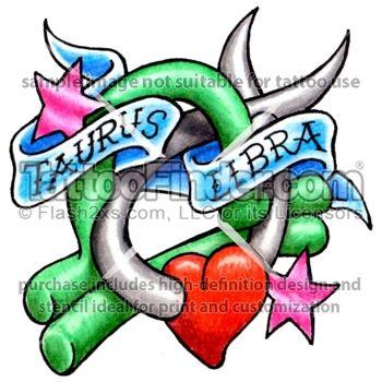 Taurus libra combined tattoo