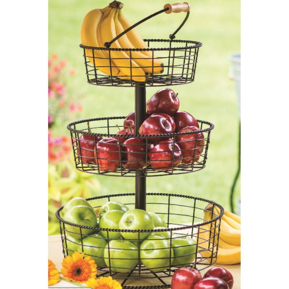 3 Tier WIRE WROUGHT IRON DISPLAY BASKET Fruit Vegetable Counter Holder  Container