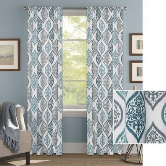 Set Teal Blue Gray White Modern Medallion Ogee Window Curtains