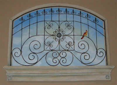 Faux Wrought Iron Window With Bird Painted By The Fabulous Cindy Baer Webster