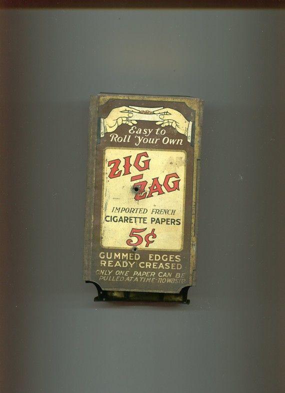 Vintage Early 1900s Tin Zig Zag Cigarette Paper Dispenser Prairie