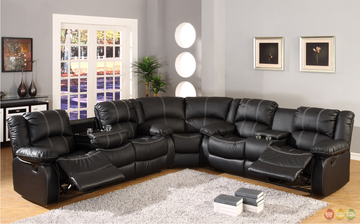black faux leather reclining motion sectional sofa w/ storage