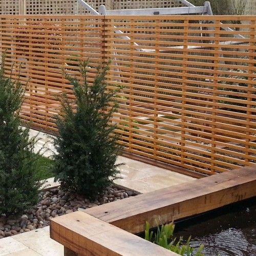 Garden screening slatted panels screening panel for Garden divider ideas