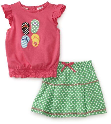 Carters Toddler Girls Skirt Set with Sandals and Hearts
