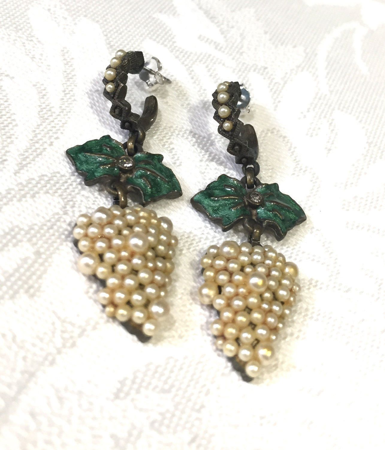 Roxanne Assouline Earrings, Vintage Faux Pearl Earrings, Dangling Enamel  And Rhinestone Earrings, Hallmarked