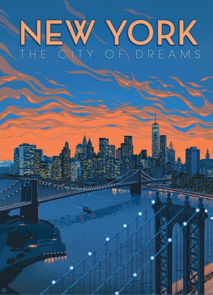 New York City Of Dreams Anderson Design Group Vintage Poster Design Travel Poster Design Retro Travel Poster