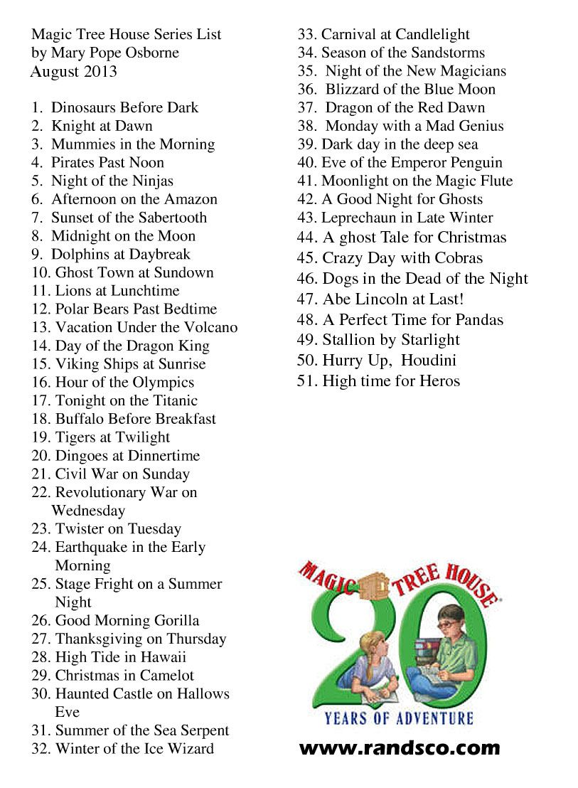 graphic relating to Who Was Book Series Printable List identify MAGIC TREEHOUSE Sequence Checklist Our daughter \