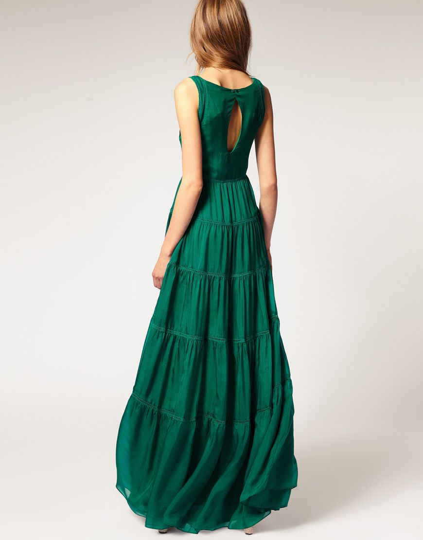 a1389319ef9 Mango Silk Tiered Maxi Dress